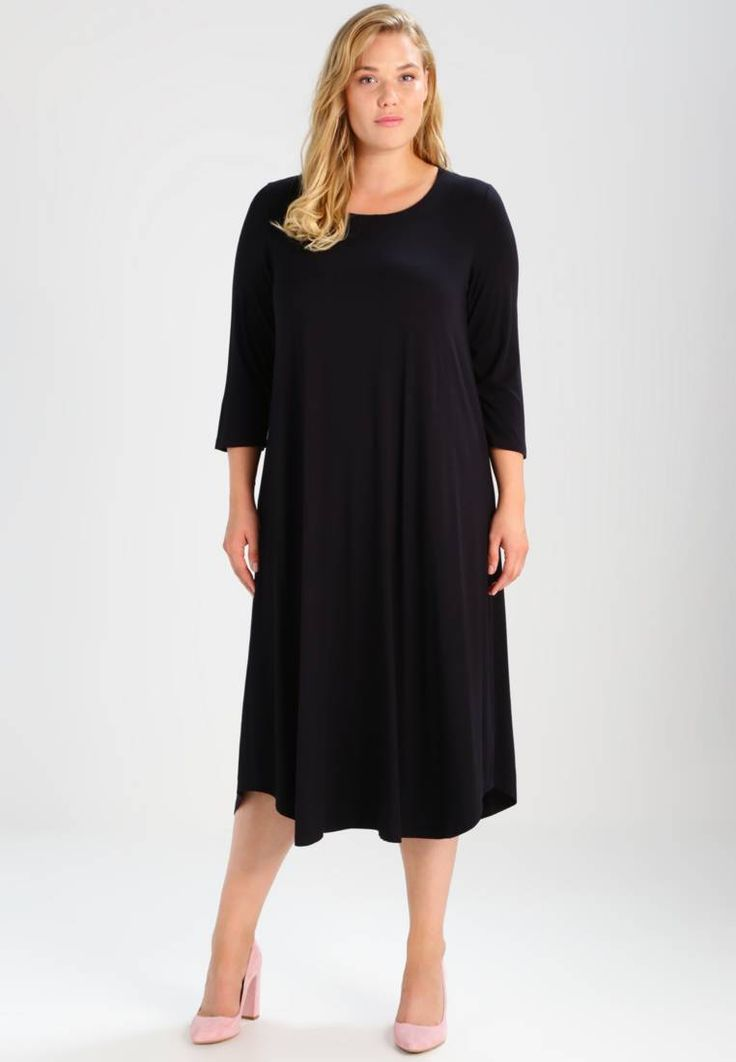 "Persona by Marina Rinaldi. ORCHIDEA - Jersey dress - black. Fit:large. Outer fabric material:94% viscose, 6% spandex. Our model's height:Our model is 69.5 "" tall and is wearing size 18/20. Pattern:plain. Care instructions:Hand wash only,Dry cleanable. Neckl..."