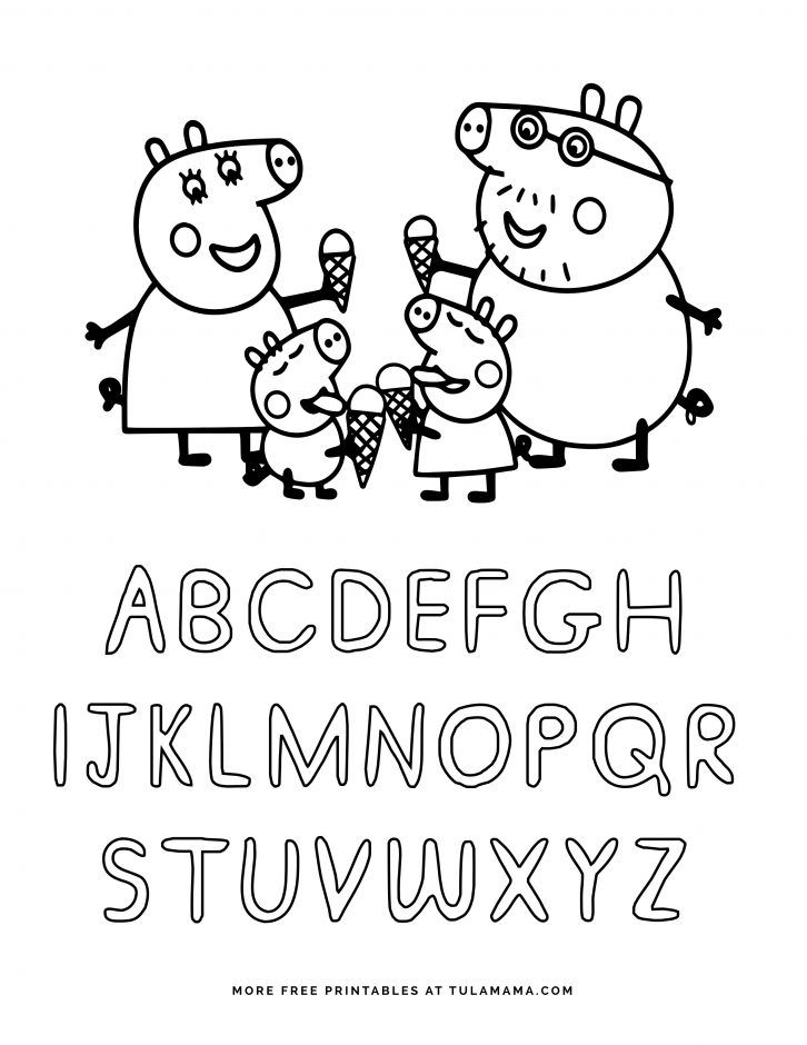 Free Printable Peppa Pig Abc Coloring Pages For Preschoolers Abc Coloring Pages Abc Coloring Alphabet Coloring Pages