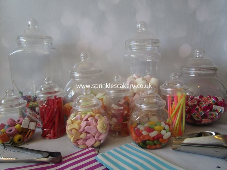 These sweetie jars, scoops and bags are available to hire from our website either filled or empty.