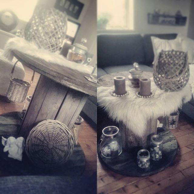 new table when autumn arrives ♡  #autumn#newin#newhome#design#kabeltrommel#sauskinn#dillapåpynt#hjemmekos#newtable#table#cablereel#cablereeltable#chabbychic#chabbychichomes
