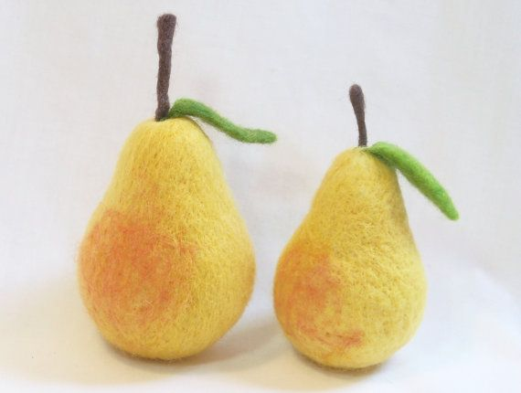 Needle Felted Pear Small Fruit Bartlett Pear with by syodercrafts