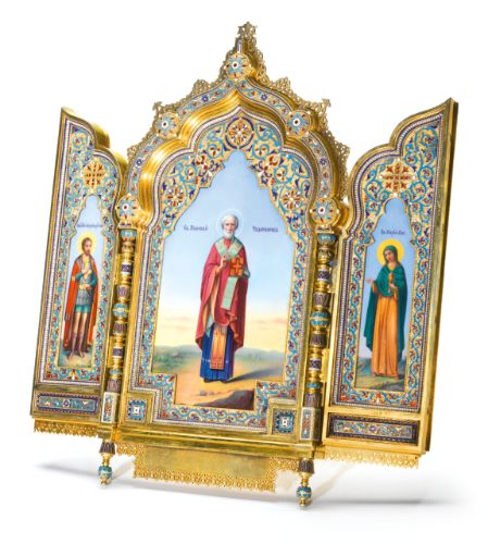 An Imperial silver-gilt and cloisonné enamel triptych icon, Khlebnikov, Moscow, 1886 | Lot | Sotheby's