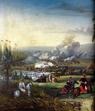 Batalla del rio Palo - Jose Maria Espinosa Prieto (1796-1883)  Técnica:Oleo sobre tela Dimensiones:81x121cms Año (creación o publicación):1845-1860 Ubicación:Museo Nacional de Colombia.
