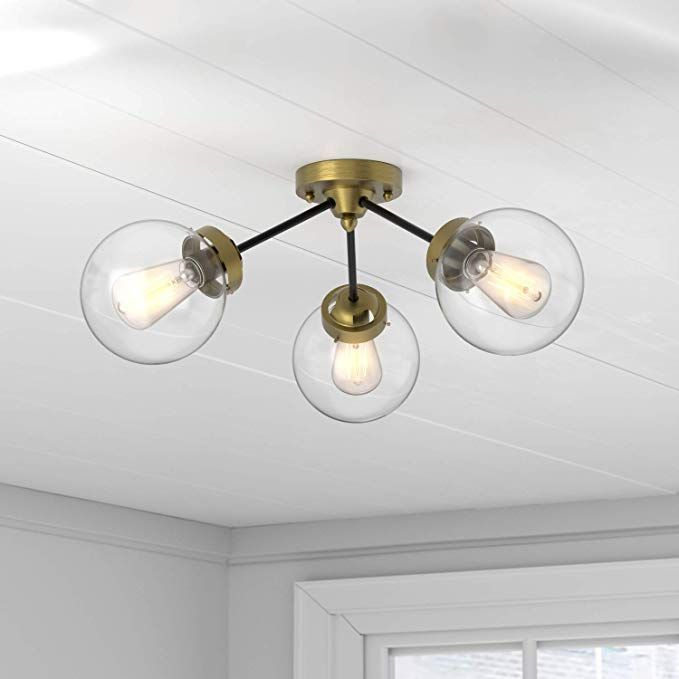 Living Room Rivet Mid Century Modern Two Tone Black And Brass 3 Light Semi Flush Mount Ceiling L Flush Mount Ceiling Lights Modern Glass Chandelier Fixtures