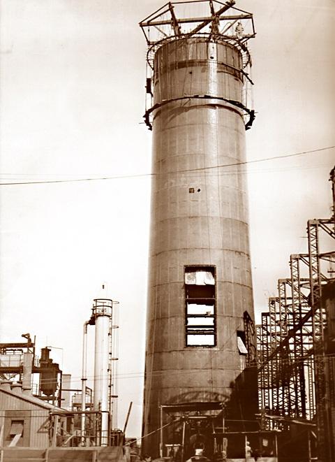Construção da Chaminé da Usina do Gasometro – 1936