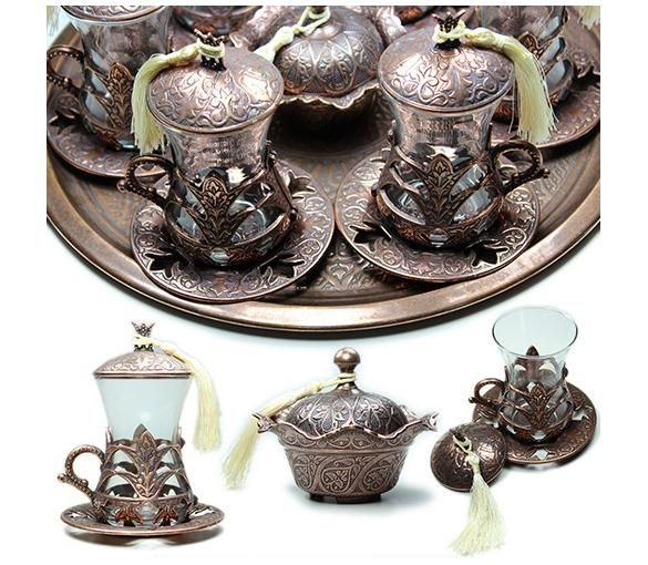 copper, Ottoman motive, Tea Cups Set of 6 persons