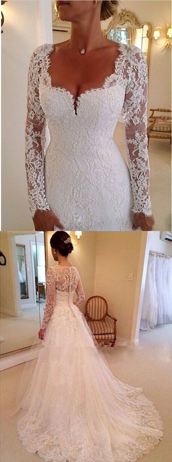 wedding dresses, long sleeves wedding dresses with court train.