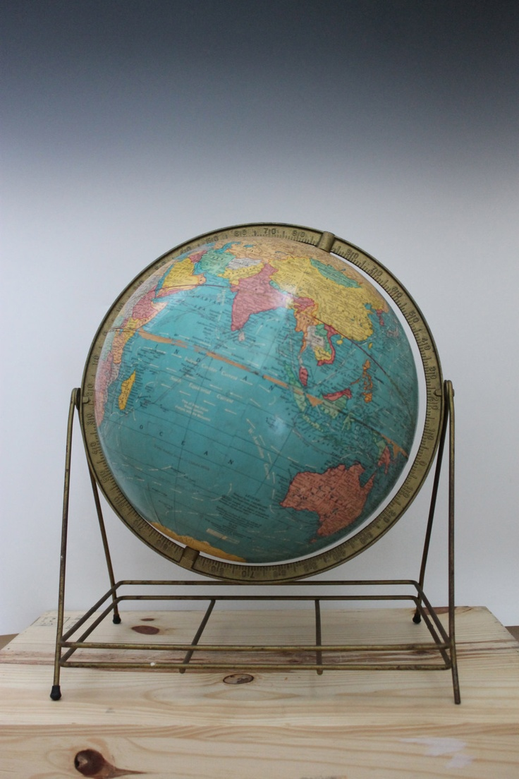 Vintage Aviation World Globe on Brass Stand