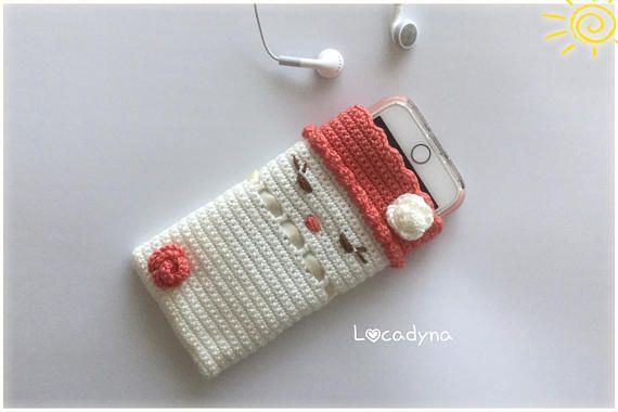 Smartphone Cover Iphone Samsung-Crochet Acrylique Off White