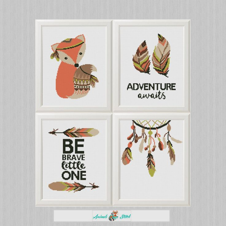 Tribal animals Cross Stitch Pattern Set 4 Printable PDF, Baby Shower Gift, Nursery Embroidery fox, Adventure Awaits Be brave DIY Baby Cross Stitch Patterns, Simple Cross Stitch, Regalo Baby Shower, Baby Shower Gifts, Adventure Awaits, Tribal Animals, Fox Fabric, Cross Stitch Animals, Diy
