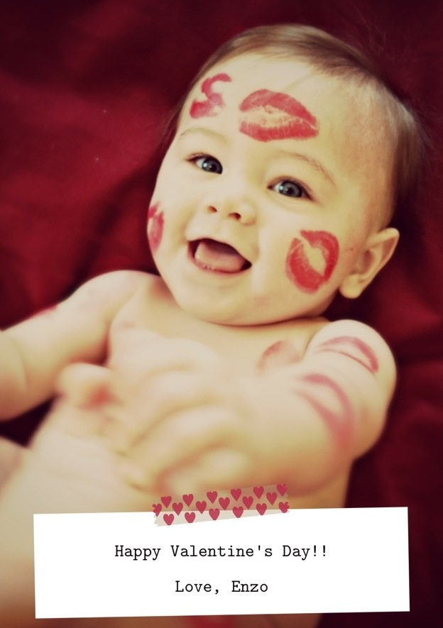 Little Valentine; Lots of Kisses; Valentine Baby Photo Idea