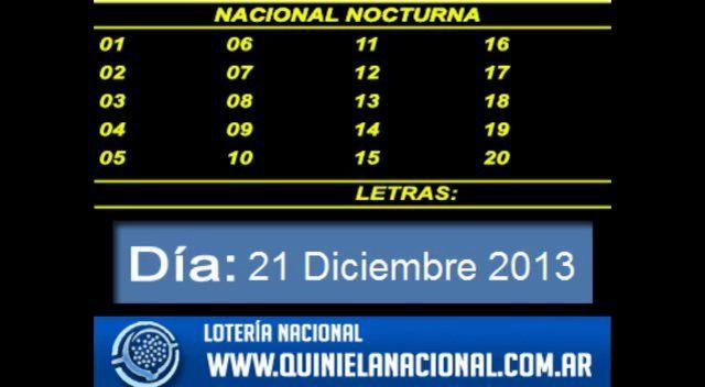 Loteria Nacional - La Quiniela Nacional Nocturna Sabado 21 de Diciembre 2013. Fuente: www.quinielanacional.com.ar