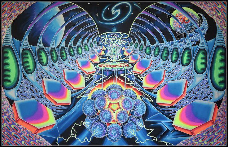 XXL UV Backdrop Starship Psy Wandbehang 3,5m x 2,25m Hippie Goa Tuch Wandtuch