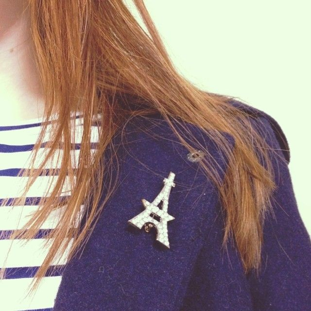 Add a chic Parisian accent to an outfit this winter with a Trestina Eiffel tower brooch