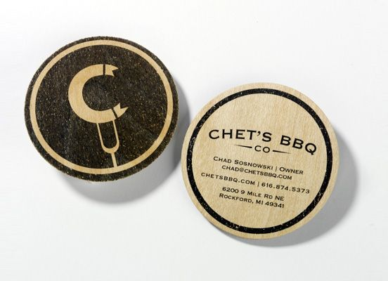 Chet`s BBQ: Design Inspiration, Creative Business Cards, Chet Bbq, Business Card Design, Prints Design, Graphics Design, Roundbusinesscardsjpg 710400, Places Cards, Business Cards Design
