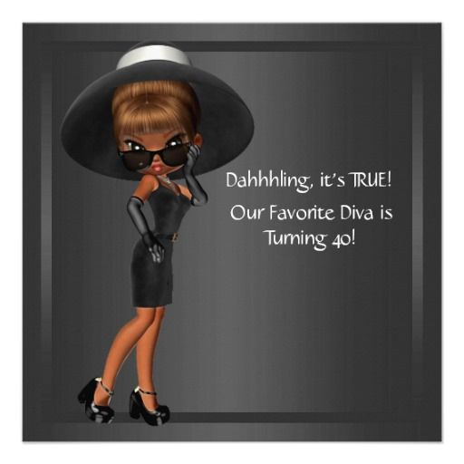 Diva Womans African American 40th Birthday Party Custom Announcement ...: www.pinterest.com/pin/413064597045340948