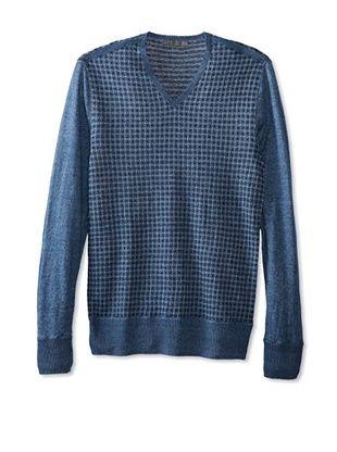 67% OFF John Varvatos Collection Men's 3 Color Vintage Pattern Long Sleeve V-Neck Sweater (Sapphire)
