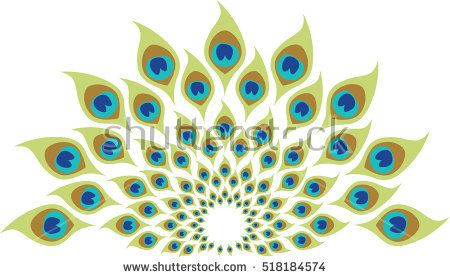Peacock feather spiral abstract illustration