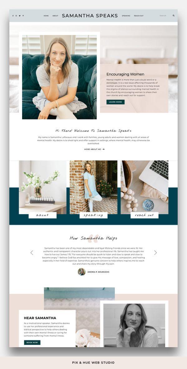 Emily Grace Wordpress Theme In 2020 Squarespace Website Design Feminine Website Design Web Layout Design