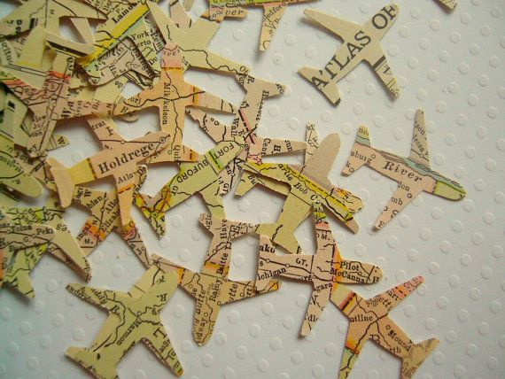 Airplane Confetti Atlas  - Vintage party wedding favor wedding decoration party decoration
