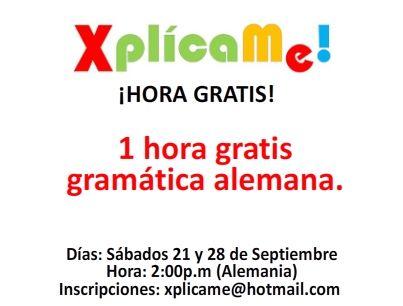 HORA GRATIS DE ALEMÁN... xplicame@hotmail.com  www.facebook.com/xplicame