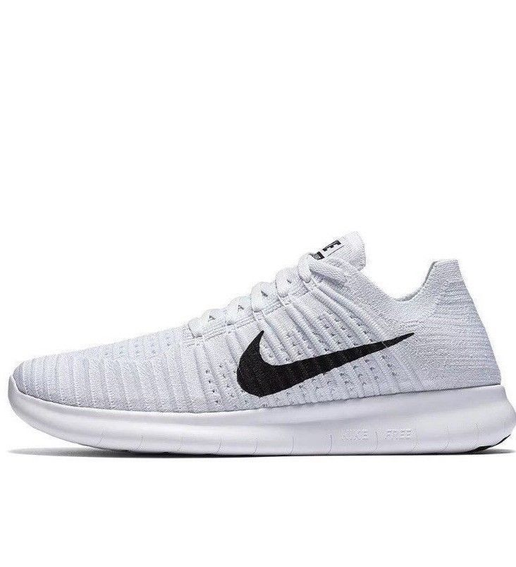 Nike Free Rn Flyknit Mens Running Shoes 13 White Black Pure Platinum 831069 101 Nike Runningshoes Running Shoes For Men Nike Flyknit Nike Free