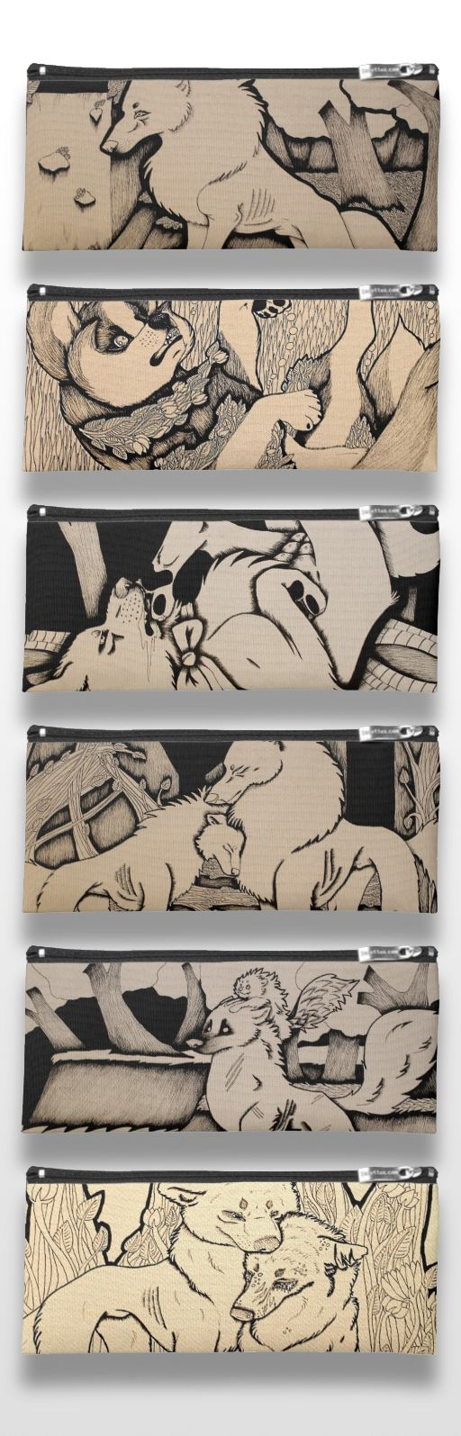 Black and white illustrated wolf and dog pencil cases