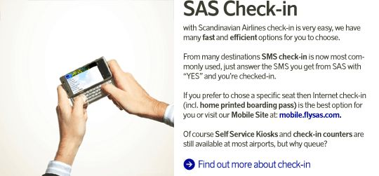 This is what SAS offers corporate business travellers - SAS check in