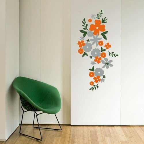 Whimsical Wall Stickers - Orange Flowers (Decal), $14.95 (http://www.whimsicalwallstickers.com.au/orange-flowers/)  Bunches of orange and grey flowers that make a unique statement piece in your home.    Contents:  stickers and transfer paper  Size: when installed: 1.45 m x 74 cm (estimated)   Material: Vinyl Fabric