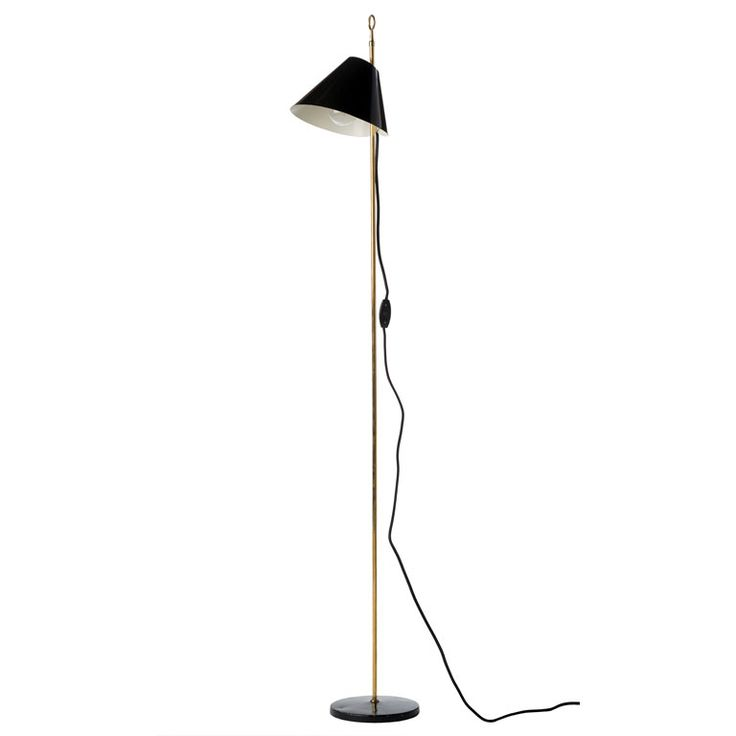 """Luigi Caccia Dominioni - """"Monachella"""" Floor Lamp  Italy  c. 1953  A """"monachella"""" floor lamp with cast iron base and enameled aluminum shade supported by a brass rod that terminates in an elegant ring. Designed by Luigi Caccia Dominioni (b. 1913) and manufactured by Azucena. Rewired for us standards."""