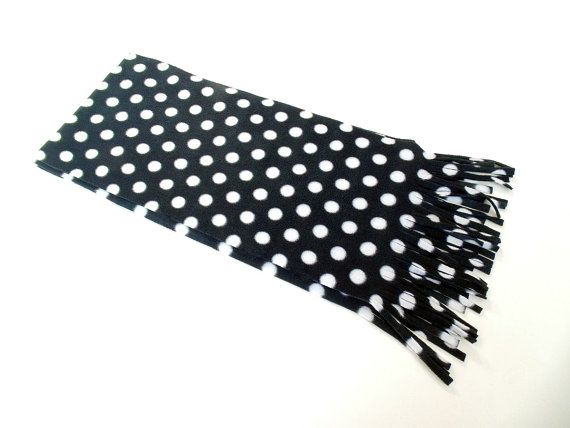 Polka Dot Scarf Black & White Scarf Fleece Scarf Winter by brefney