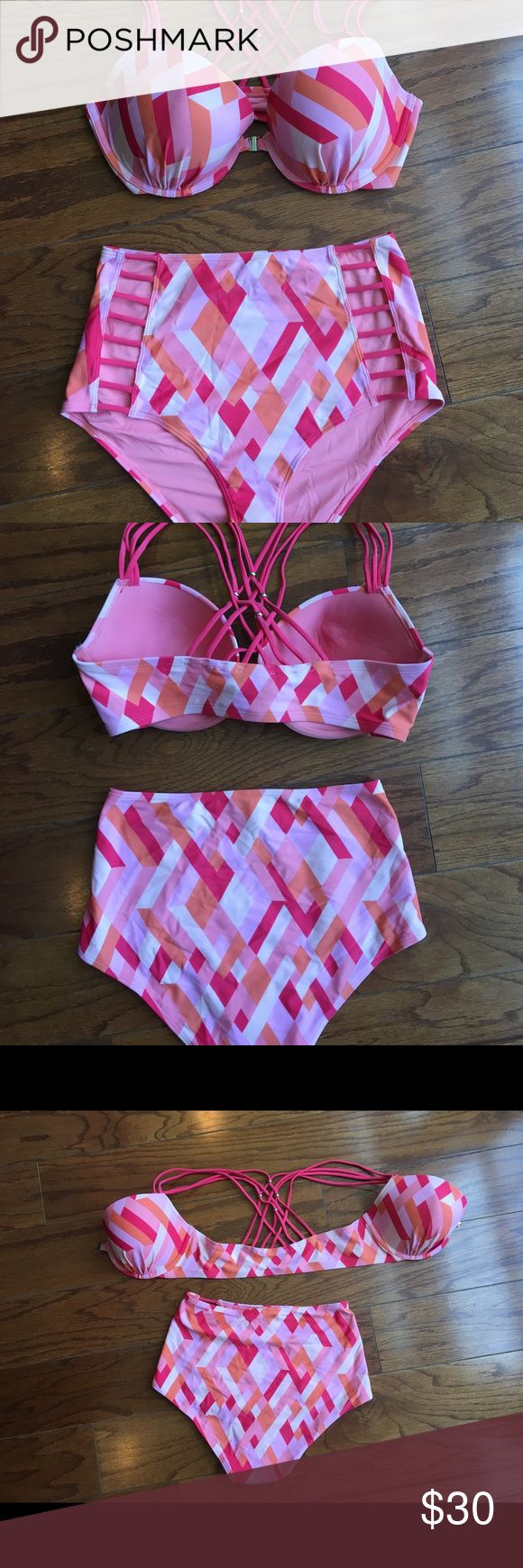 Brand new bikini from American Eagle. Size L/36D Brand new high waisted bikini from American Eagle. The high waisted bottom has sexy cutouts along the hips and is a size L, the underwire, padded top has multiple crisscross straps in the back held together by silver beads. The bikini top is front closure making it easy to put on and take off as well as adding more support for the girls! It's super cute and flattering! American Eagle Outfitters Swim Bikinis