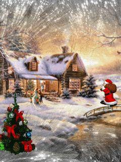 MOVING Walking Santa Snowing Christmas Scene - Snowing Christmas Scene Gif -