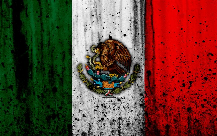 Download wallpapers Mexican flag, 4k, grunge, South America, flag of Mexico, national symbols, Mexico, coat of arms of Mexico, Mexican national emblem