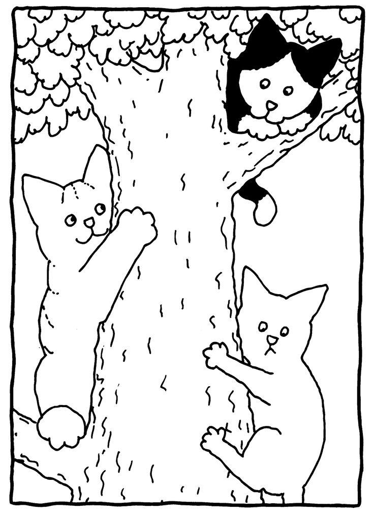 in de boom kleurplaten huisdier knutselen en