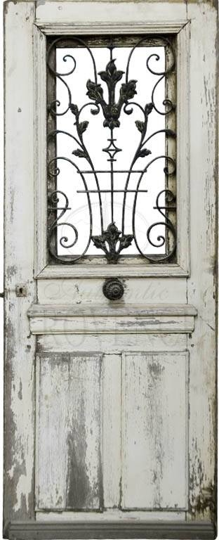 Salvaged Door With Iron Window Grate