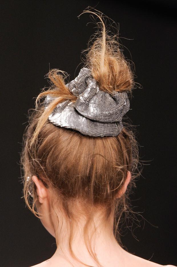Glastonbury Festival Fashion Inspiration. hippie, bohemian, boho, Ashish Beauty S/S '13, sequin, sparkle, metallic, silver, scrunchie, hair, bun