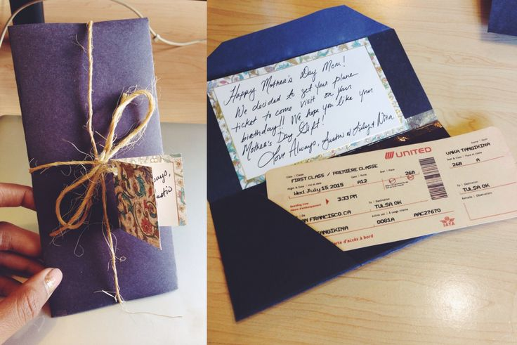 Omatic.musicairport.com - airplane ticket gift for another. Printed on a a side of Manila folder, perfect for airplane ticket replica. Construction paper for envelope, and twine to wrap.