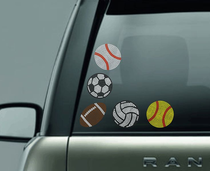 Rhinestone car decal pack sports sticker pack rhinestone baseball football softball soccer basketball volleyball tennis decals stickers