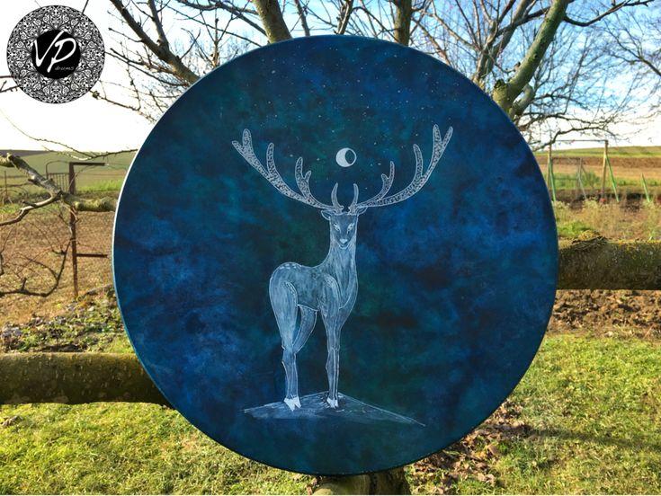 16' Professional Shaman drum, Frame drum, new moon drum, Deer Hide pai                      – VPdrums