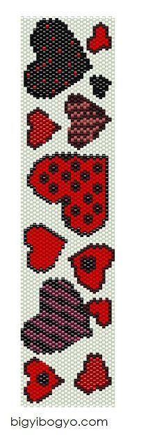 Beaded hearts PATTERN bracelet chart peyote with bead count and colours DB