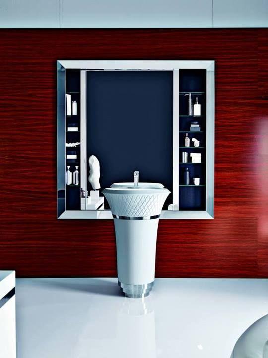 Falper George freestanding washbasin with mirror cabinet / Lavabo à colonne avec miroir meuble