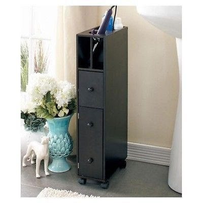 Cabinet Organizer Wooden Bathroom Storage Slim Espresso