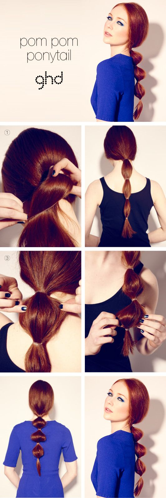 HOW-TO HAIRSTYLES: POM POM PONYTAIL Make your ponytail POP! Give your HAIR a HIGH-FASHION twist with this simple hairstyle