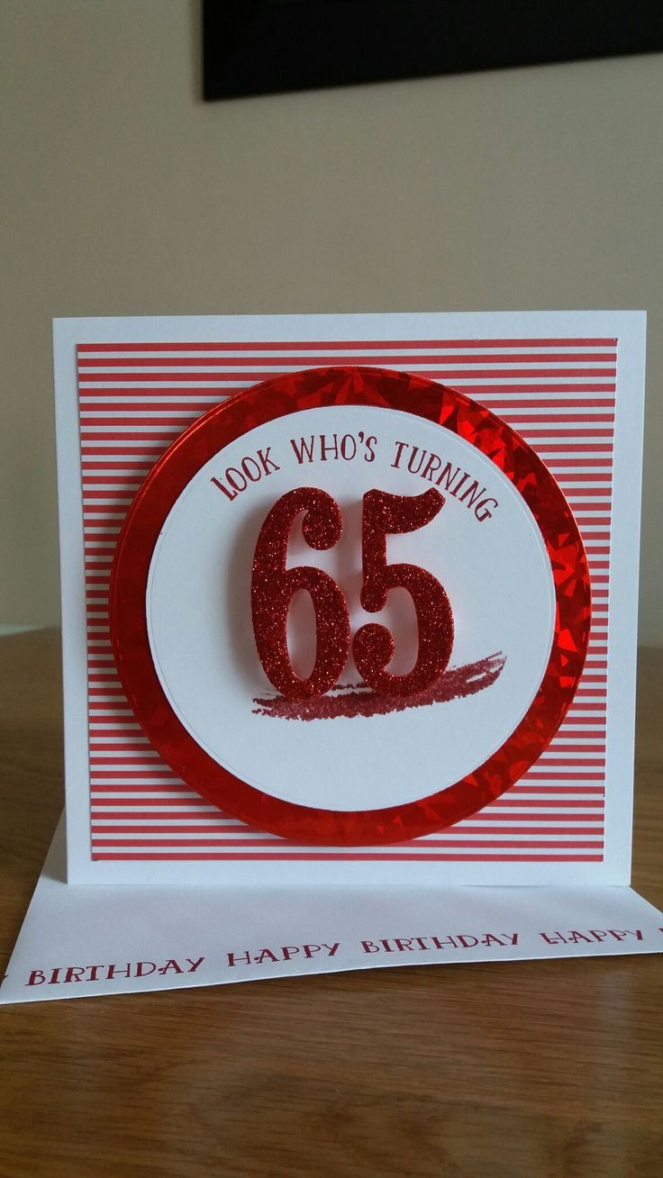 65th birthday card using stpin up number of years set