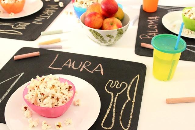 Manteles individuales de mesa para pintar con tiza. Los niños se divierten y tal vez ¡hasta comen mejor!