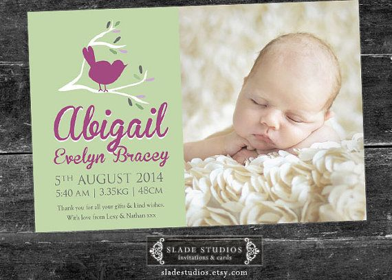 Baby Bird birth announcement photo cards. by SladeStudios on Etsy, $17.00