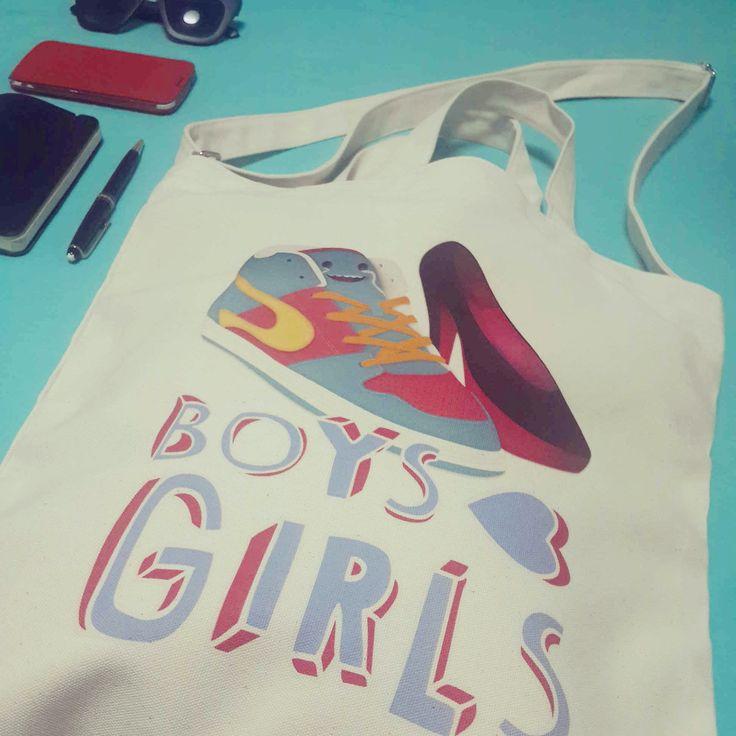Boy hearts Girl www.OneRevolt.com  #에코백 #원리볼트 #아티스트 #디자인 #티셔츠 #totebag #ecobag #design #style #onerevolt #tshirt #artist