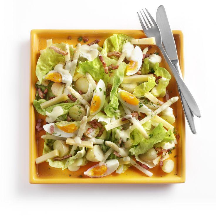 Dag 5 - lunch: Maaltijdsalade met asperges, spekjes en boerenkaas #aspergechallenge
