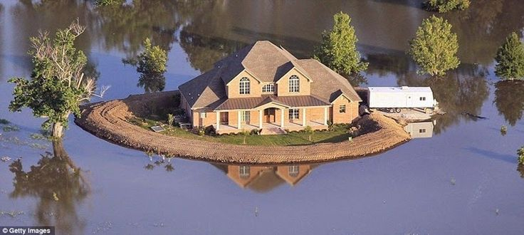 Island Homes During Mississippi River Flooding__     http://www.amusingplanet.com/2014/10/island-homes-during-mississippi-river.html